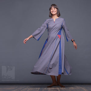 "Long avant-garde dress ""Revolution"", model ""Blue"" Designer dresses for creative women by Squareroot5 wear"