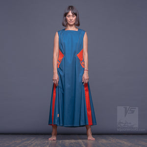 "DRESS ""SIDELIGHTS"" MODEL ""ST"" SHORT SLEEVES with big side pockets TURQUOISE color by Squareroot5"