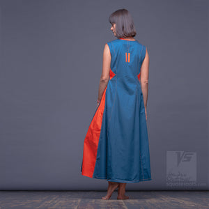 Maxi cotton dress, short sleeves and side pockets . Turquoise-Orange. by Squareroot5 wear