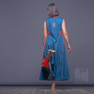 "Turquoise Long dress with big side pockets ""Sidelights"" Summer dress for her."