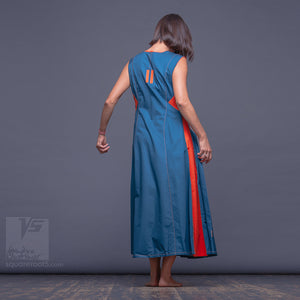 "Short sleeve turquoise dresses ""Sidelights"" with eccentric design and orange accents."