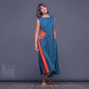 "Long avant garde cotton and unique dress with big side pockets ""Sidelights"" by Squareroot5 wear"