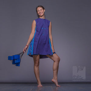 Experimental dress with geometrical pattern. Beach dress. Violet-Blue