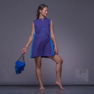 Experimental festival design purple dress with geometric pattern.