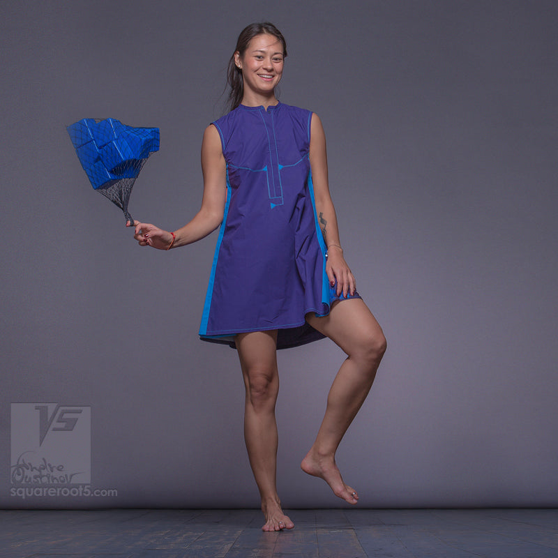 "DRESS ""COSMIC TETRIS"" MODEL ""SVB"" SHORT VIOLET-BLUE by Squareroot5"