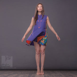 "DRESS ""COSMIC TETRIS"" MODEL ""SVO"" SHORT VIOLET-ORANGE"