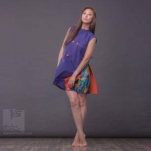 "Short party dress ""Cosmic Tetris"". Violet and orange. Designer dresses for creative women."