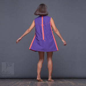 Violet short dress with Asymmetrical aesthetic. Birthday gifts for her.