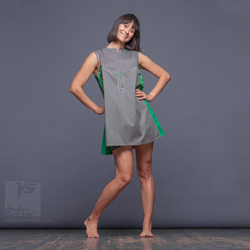 "DRESS ""COSMIC TETRIS"" MODEL ""SGG"" Short Gray Green"