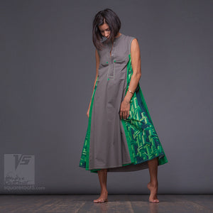 "Long avant-garde long geometric dress ""Cosmic tetris"", model ""Gray Green"" Designer dresses for creative women by Squareroot5 wear"