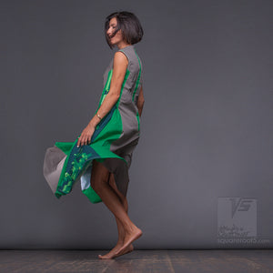Experimental dress with geometrical pattern. Green-Grey color. Abstract pattern