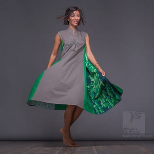 Long grey-green dress. Unique birthday gifts for her. Squareroot5 wear