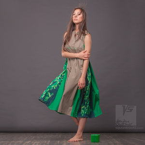 "Dress ""Cosmic Tetris"" model ""LGG"" Long Gray-Green"