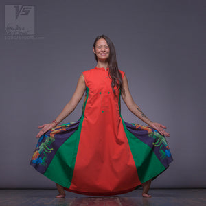 "Avant-garde dress ""Cosmic Tetris"" orange and green geometrical design."
