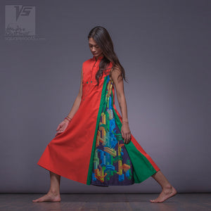 "Suitable for expecting mothers long dress ""Cosmic Tetris"""