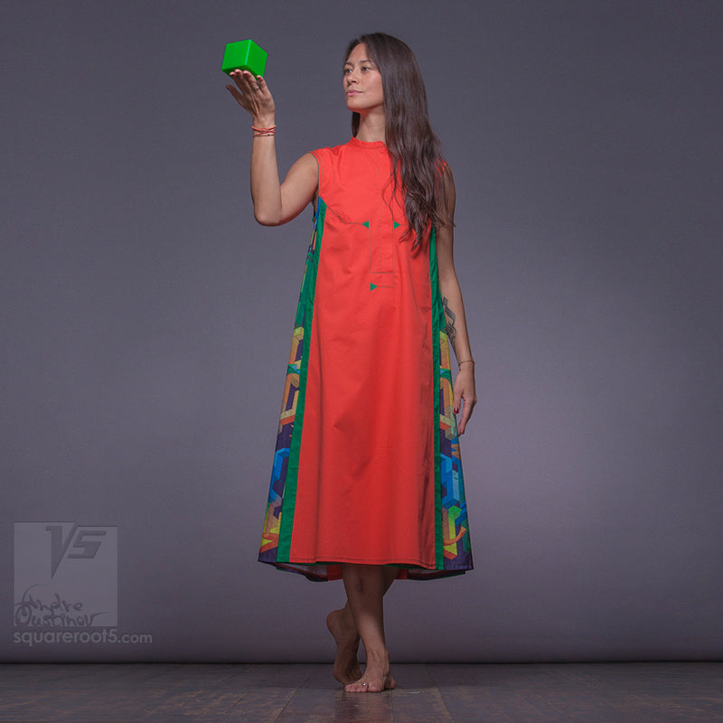 "Long avant-garde long geometric dress ""Cosmic tetris"" model ""Orange Green"" Designer dresses for creative women by Squareroot5 wear"