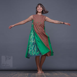 "DRESS ""COSMIC TETRIS"" MODEL ""BG""  BROWN-GREEN"