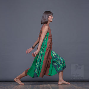 "Long party dress ""Cosmic Tetris"". Brown and green. Designer dresses for creative women."