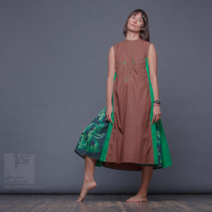 "Long party dress ""Cosmic Tetris"". Brown and green. Designer dresses for creative women. Geometric pattern"