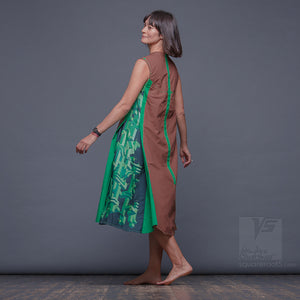 unique long dresses. Future clothing by Squareroot5 wear. Green and Brown