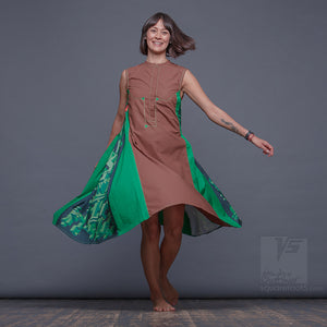 "DRESS Twist ""COSMIC TETRIS"" MODEL ""BG"" BROWN-GREEN contemporary women's clothing"