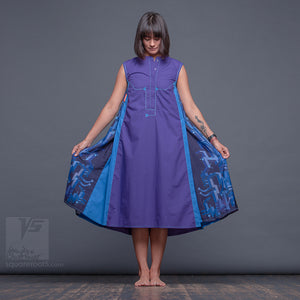 "DRESS ""COSMIC TETRIS"" MODEL ""PB"" PURPLE-BLUE"