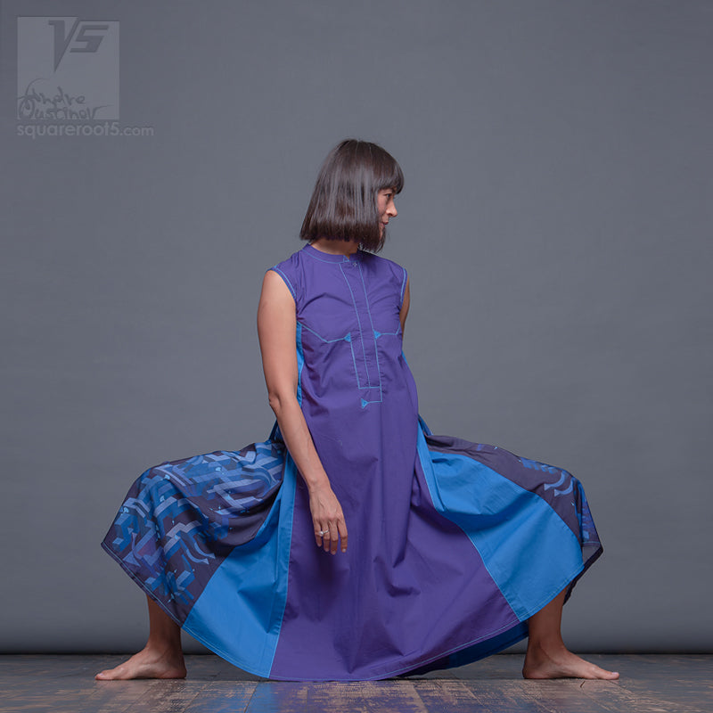 Unusual violet dancer dress with short sleeves.