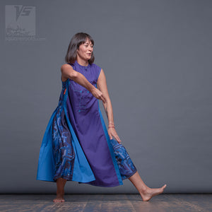 "Long party dress ""Cosmic Tetris"". Violet and blue. Designer dresses for creative women."