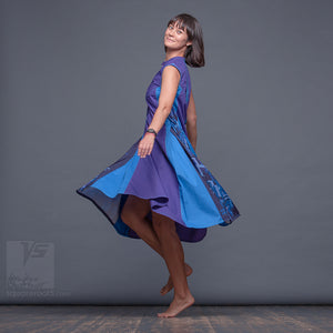 Experimental dress with geometrical pattern. Summer avant garde dress. Violet-Blue
