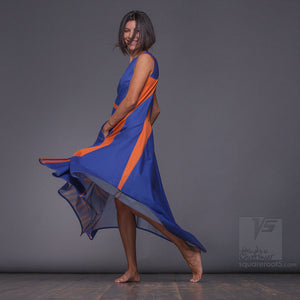 Geometrical ascetic maxi dress for dance, for creative women with geometric pattern. by Squareroot5 wear