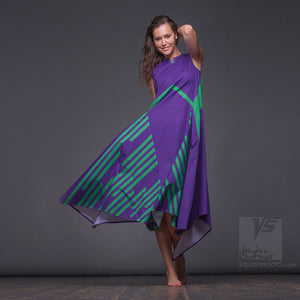 "DRESS ""WINGBEAT"" MODEL ""VG"" VIOLET-GREEN by Squareroot5 wear"