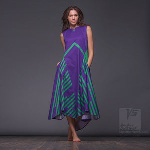 Experimenta violet long dress with short sleeves. Organic avant-garde clothes.