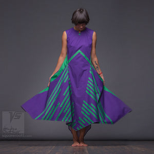 Unusual wedding gift idea. Experimental dress with lines geometrical pattern.