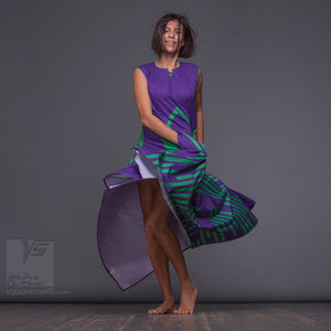 Violet long dress with Asymmetrical aesthetic. Birthday gifts for her.Organic avant-garde clothes by Squareroot5