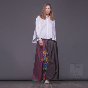 "LONG COTTON SKIRT ""SAMURAI GIRL"" MODEL ""COSMIC BURGUNDY"""