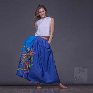 "LONG COTTON SKIRT ""SAMURAI GIRL"" MODEL ""COSMIC CERULEAN"""