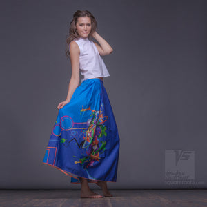 "Long cotton skirt ""Samurai Girl"", model ""Cosmic Cerulean""  With avant-garde and colorful print"