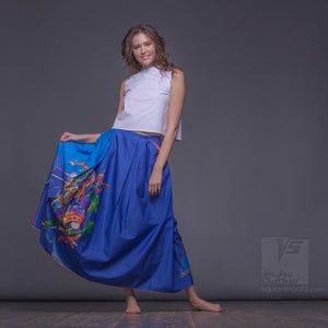 Uncommon long cerulean-blue semi pleated skirt. Squareroot5 wear