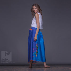 "Long summer cerulean semi pleated skirt ""Samurai girl"". Innovation design by Squareroot5 wear."