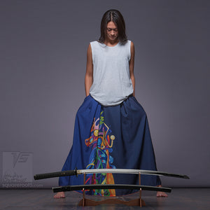 "Long cotton skirt ""Samurai Girl"", model ""Solar dark blue""  With avant-garde and colorful print"