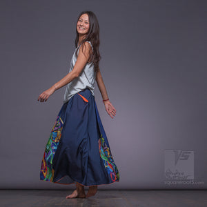 Asymmetrical long maxi summer dark blue skirt. Unique birthday gifts for her