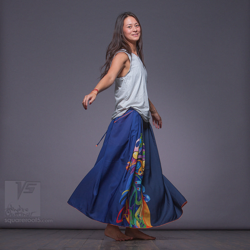 "LONG COTTON SKIRT ""SAMURAI GIRL"" MODEL: ""SOLAR DARK BLUE"""