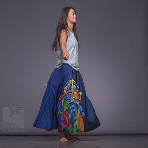 Unusual wrap around avant garde dark blue skirt.