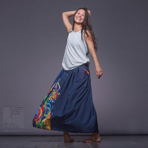 Non traditional maxi dark-blue skirt. Japanese stile.