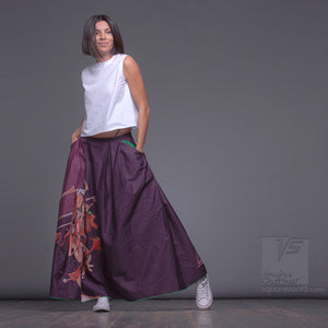 "LONG COTTON SKIRT ""SAMURAI GIRL"" MODEL: ""COSMIC MONOCHROME PURPLE"""
