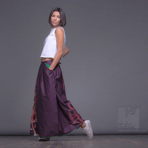 "Long cotton skirt ""Samurai Girl"", model ""Cosmic monochrome purple""  With avant-garde and colorful print"