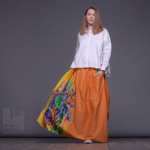 "Long cotton skirt ""Samurai Girl"", model ""Solar yellow""  With avant-garde and colorful print"
