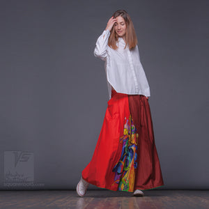 Experimental asymmetrical maxi skirt with abstract pattern by Squareroot5 wear