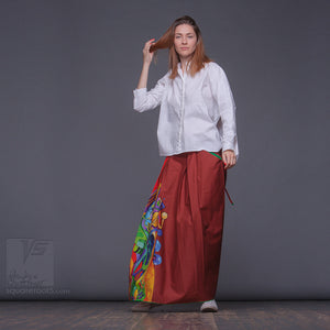 Experimental fashion. Long bright skirt. Japanese stile.