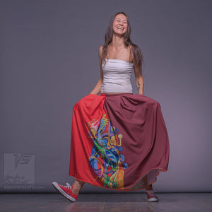 "Long cotton skirt ""Samurai Girl"", model ""Solar  Red"". With avant-garde and colorful print, designed by Squareroot5 wear"